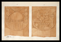 Two drawings of sculpture on the stupa rail at Bodhgaya (Bihar), made by Kittoe during his investigation of the site. January 1847. 12